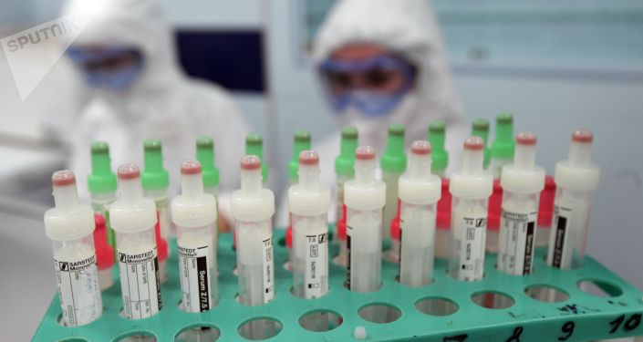 Test tubes with biomaterial in a hospital in Moscow